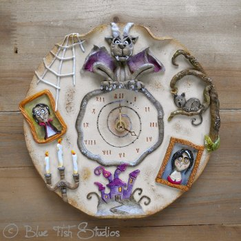 Ceramic Wall Clock - Gothic Halloween Design
