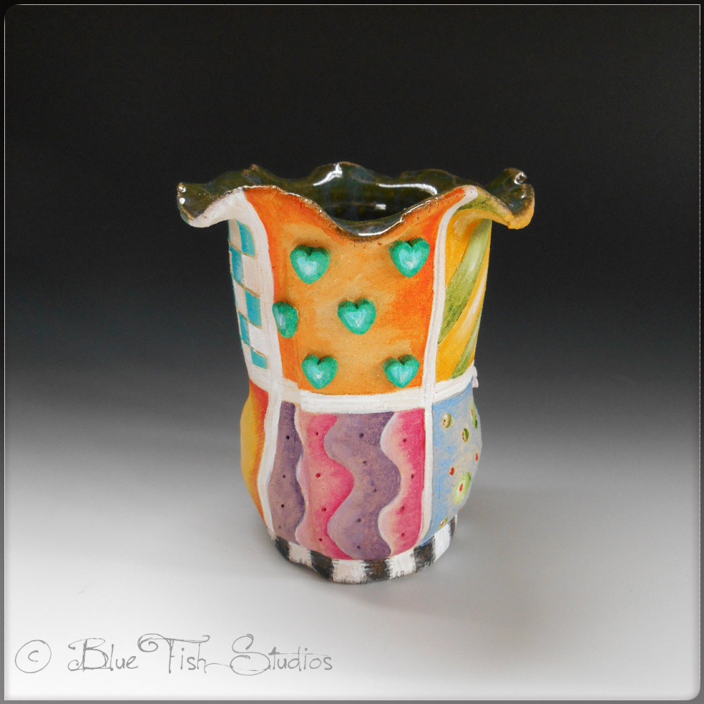 Flower Vase Ceramic - Whimsical Patterns Design