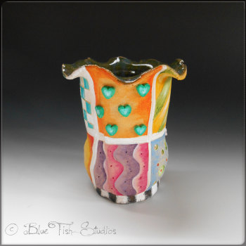 Flower Vase Ceramic small - Whimsical Patterns Design