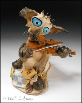 The Cat and the Fiddle - Ceramic sculpture