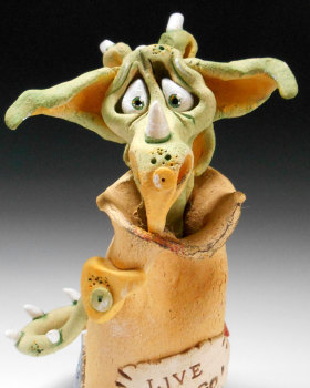 Dragon in a Post Sack - Ceramic Sculpture