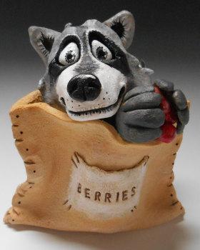 Raccoon in a Sack - Ceramic Sculpture