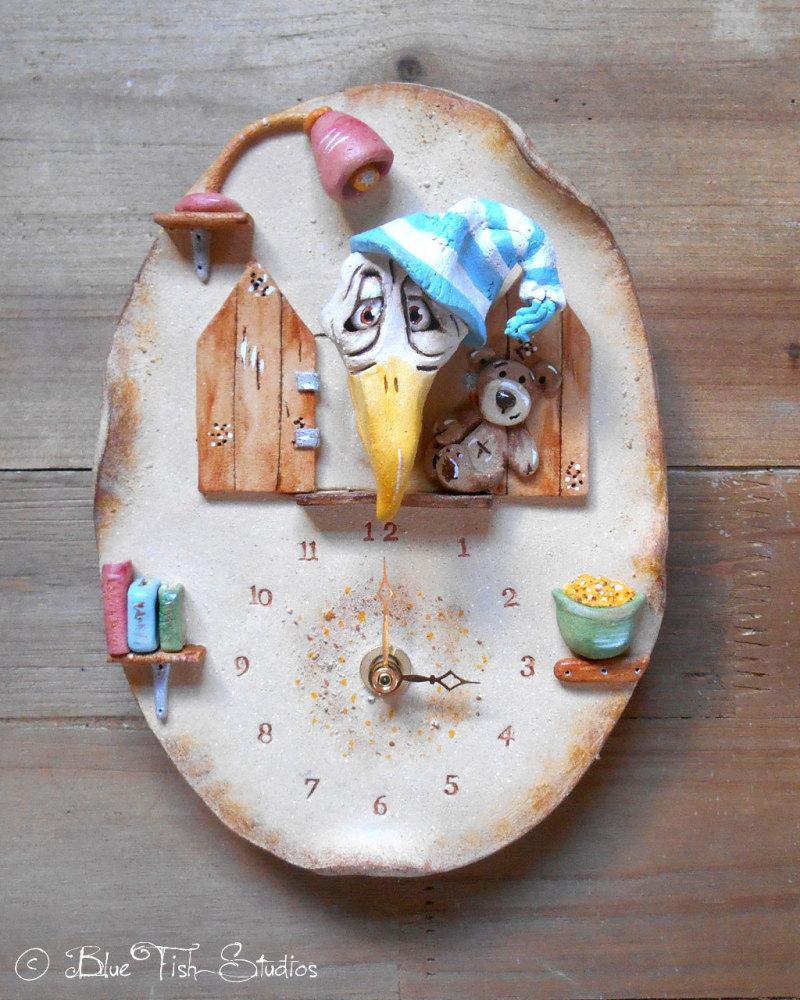 Ceramic Wall Clock - Old Sleepy Cuckoo