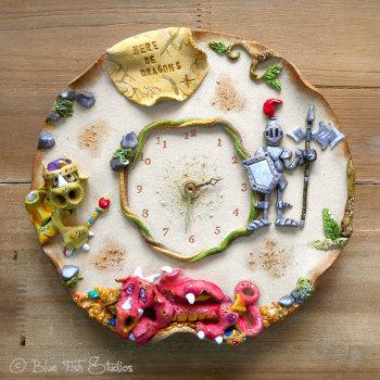 Ceramic Wall Clock - Dragons Design