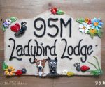 House Sign Ceramic - Bridge Top 9 x 6 Ladybird Lodge