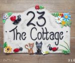 House Sign Ceramic - Bridge Top 9 x 6 The Cottage
