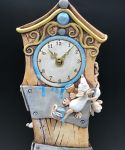 Grandfather Clock Mantel Ceramic Blue Accents