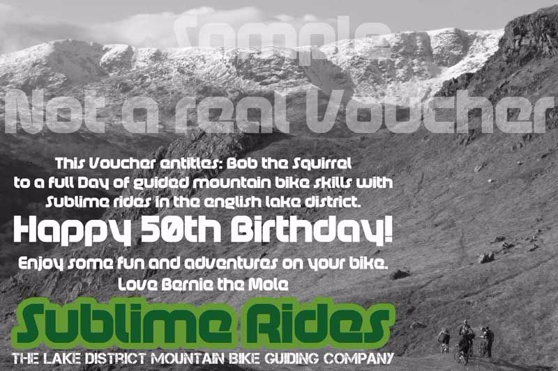 Sublime Rides Voucher | Christmas MTB Voucher | Birthday MTB Voucher | Lake District MTB Voucher | Lake District Coaching Voucher | Lake District Skills Voucher | Lake District Guiding Voucher