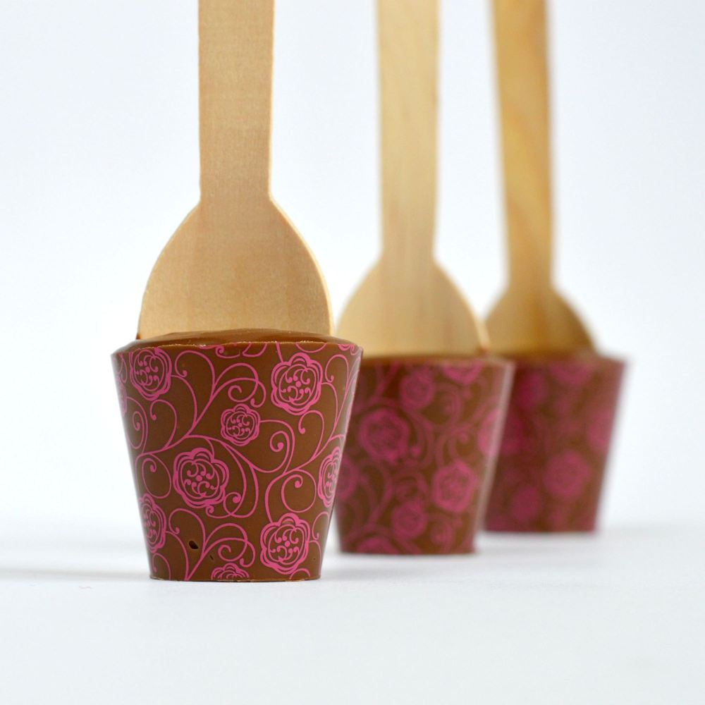 Hot Chocolate Spoon with Pink Roses