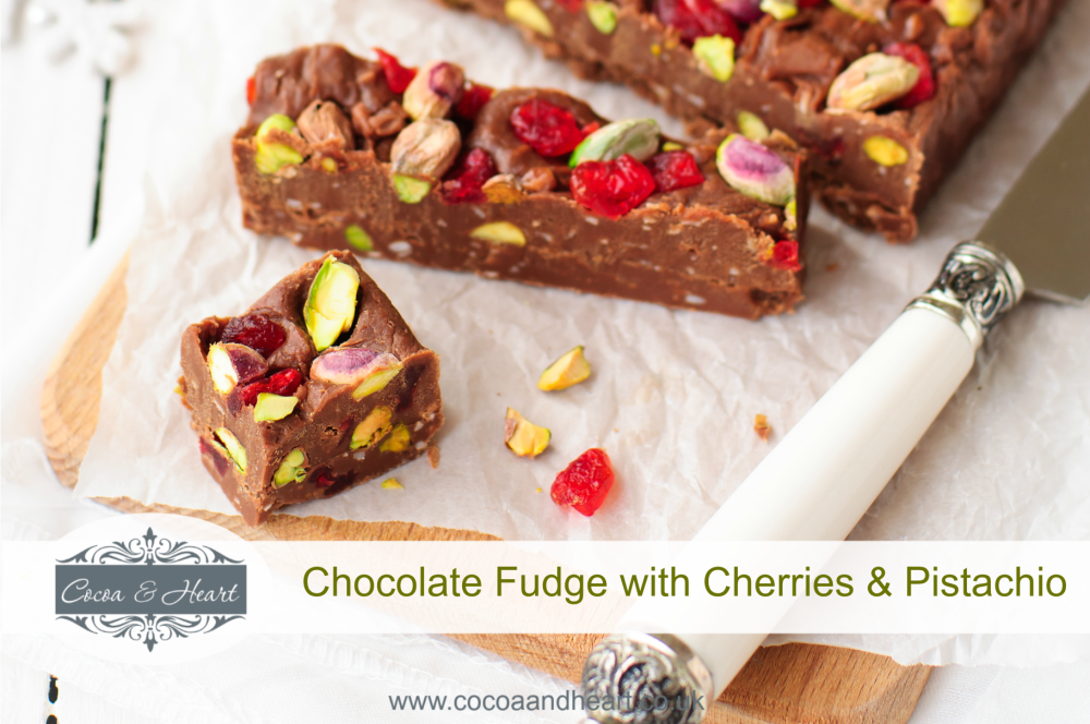 Christmas Chocolate Fudge with Cherries, Pistachio & Coconut Recipe