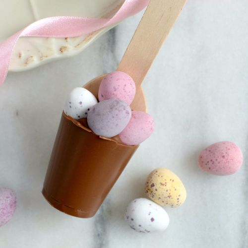 Hot Chocolate Spoon with Pink Roses Pattern