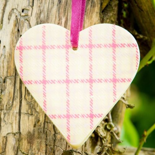Chocolate Heart Bar with Pink Stripes Design