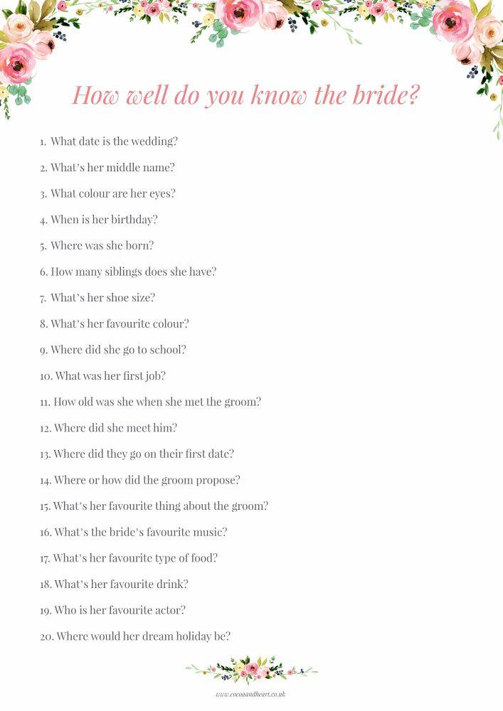 Bridal Quiz