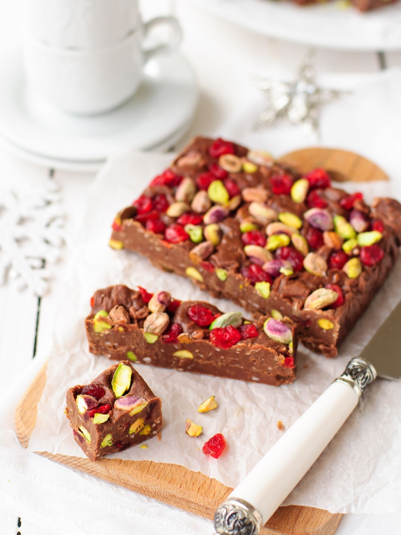 Chocolate Fudge with Cherries, Pistachio & Coconut Recipe