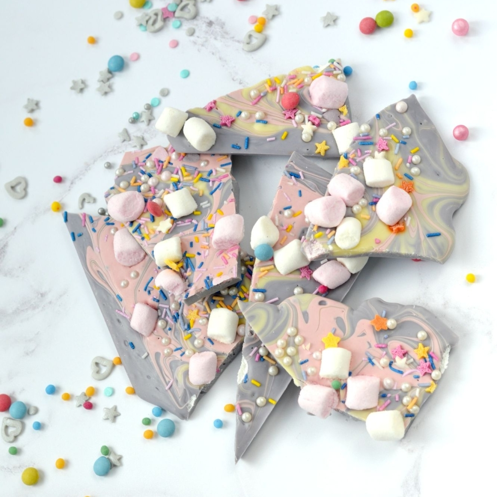 Unicorn Chocolate Bark by Cocoa & Heart