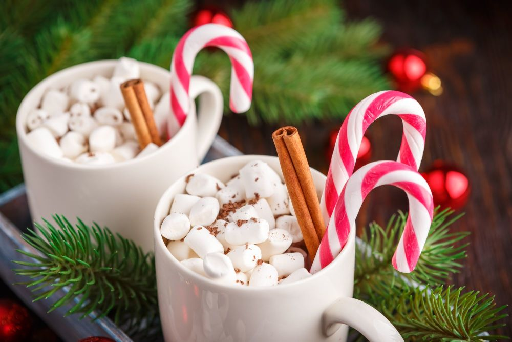Canva - Two Cups with Small Marshmallows on a Dark Wooden Background