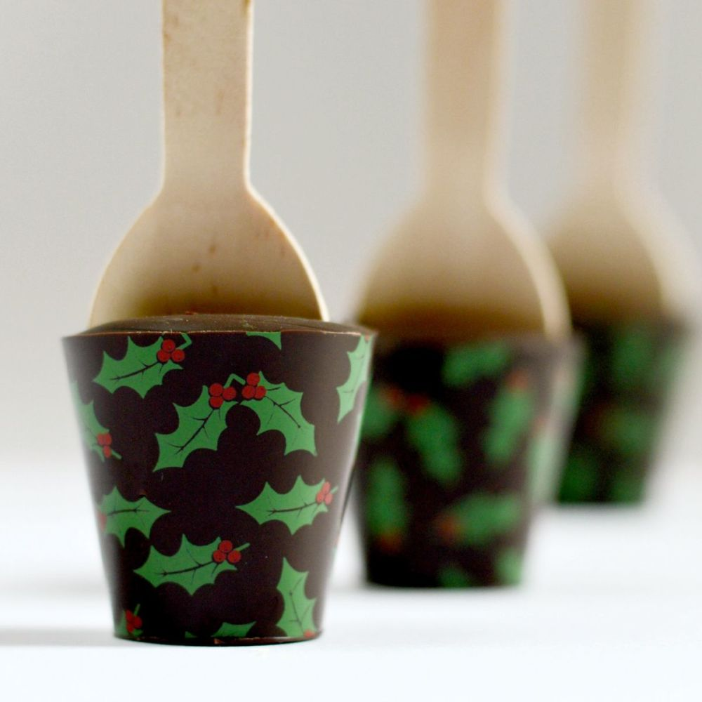 Christmas Hot Chocolate Spoon with Holly Leaf