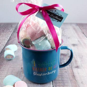 'I would rather be at Glastonbury' Hot Chocolate Mug Gift Set