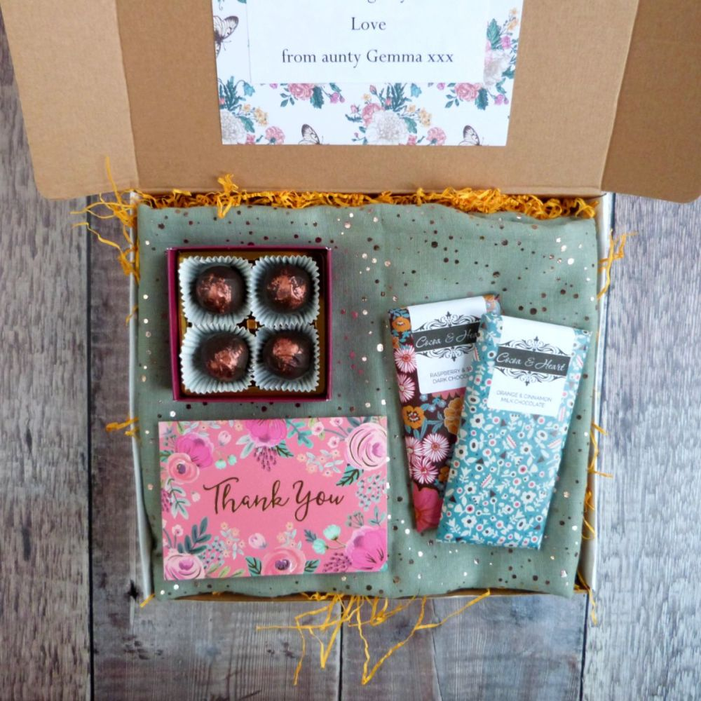 Chocolate & Scarf Thank you Gift Box for her