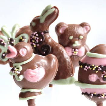 Set of five Easter Chocolate Lollipops
