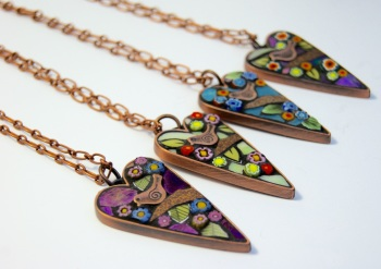 Copper hearts with birds