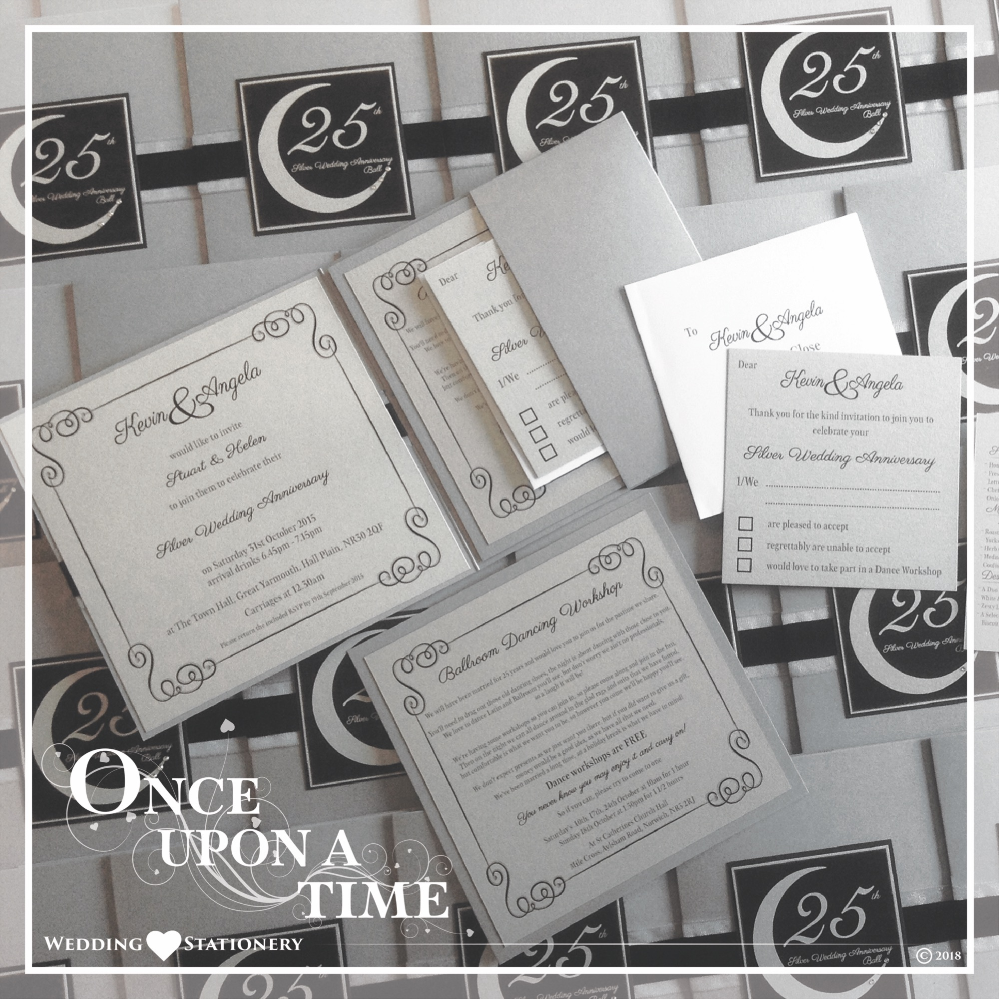 Wedding Stationery Set Silver Wedding Anniversary Pocket Fold Invitations