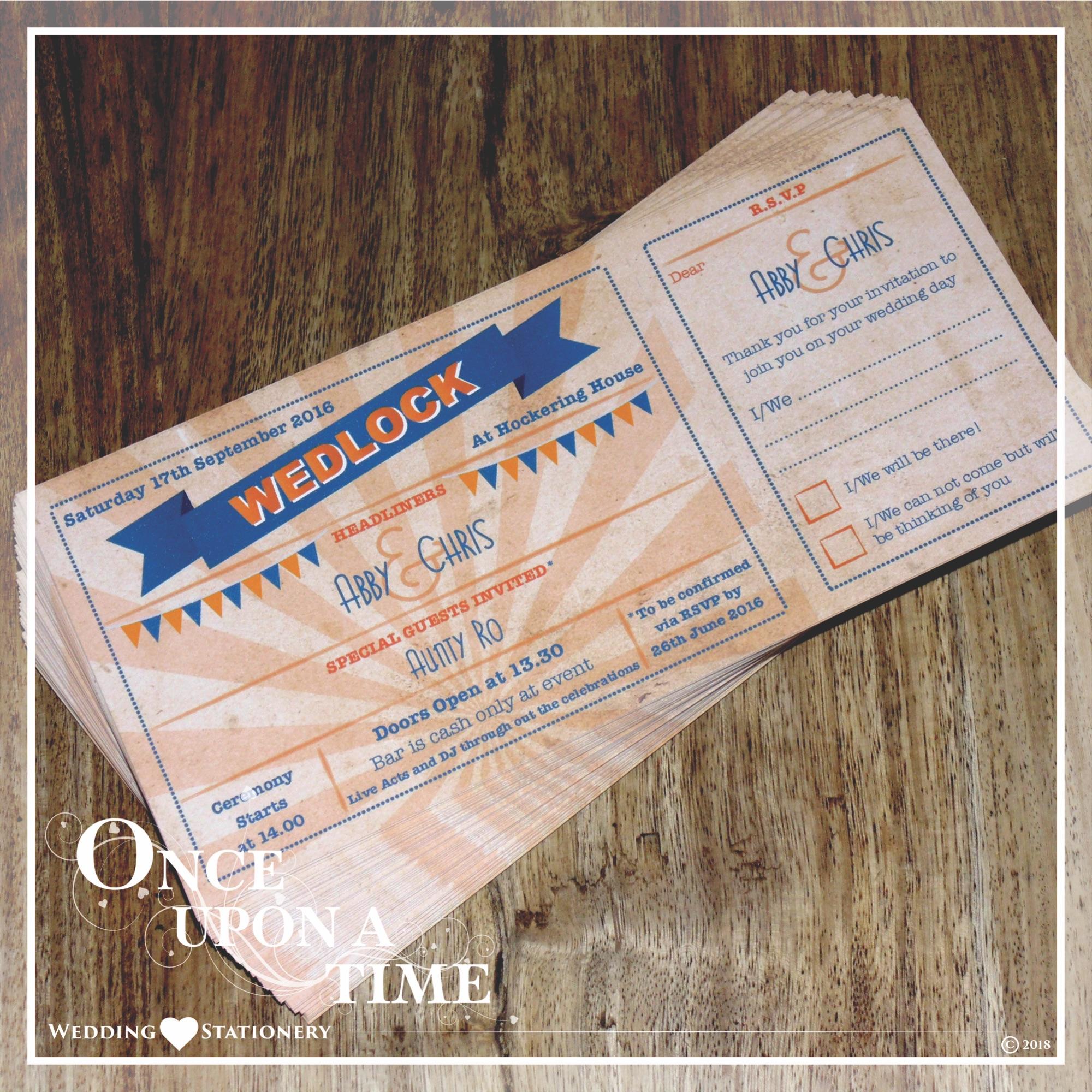 Bespoke Wedding Stationery Design Festival Ticket Invitations