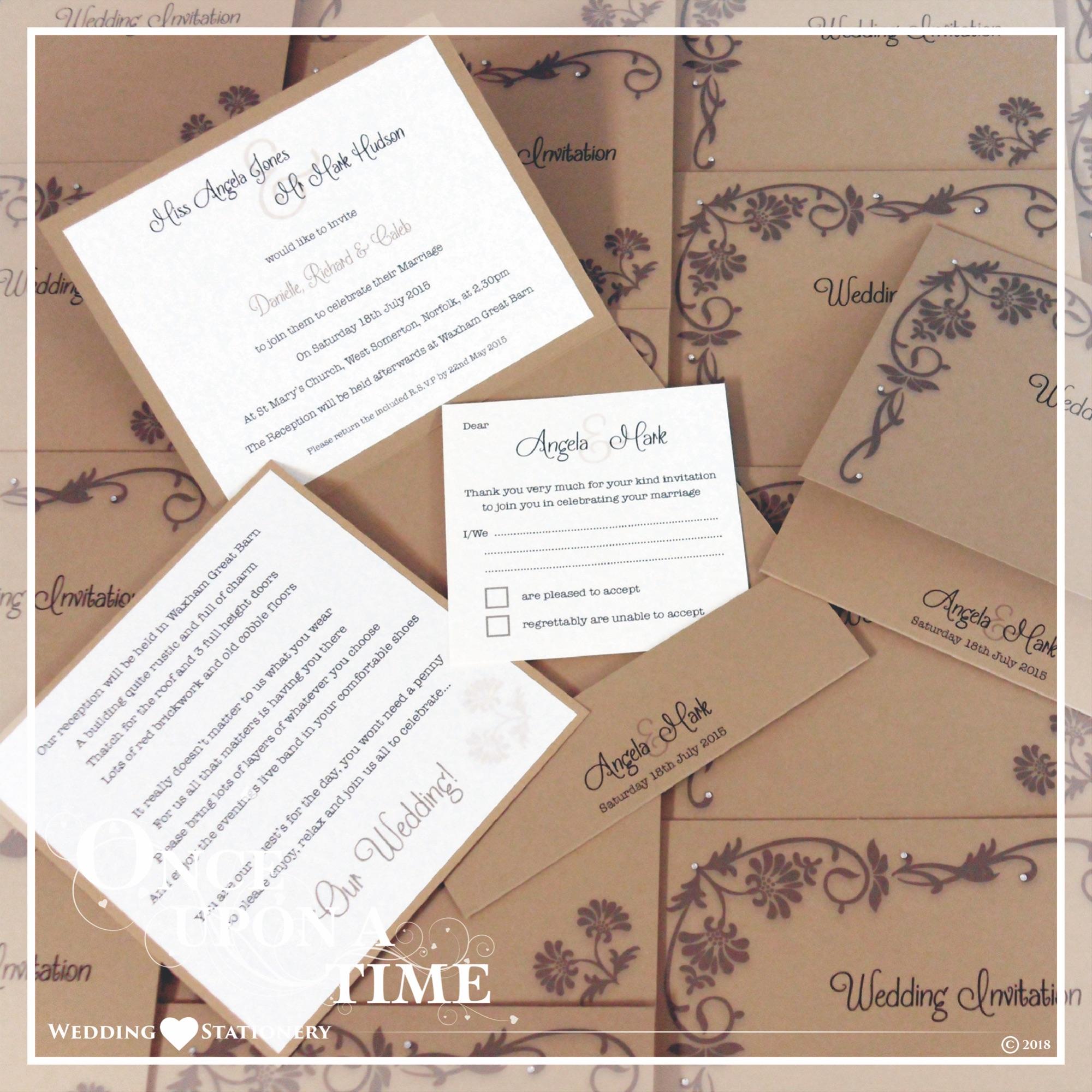 Wedding Stationery Pocket Fold Invitation sert