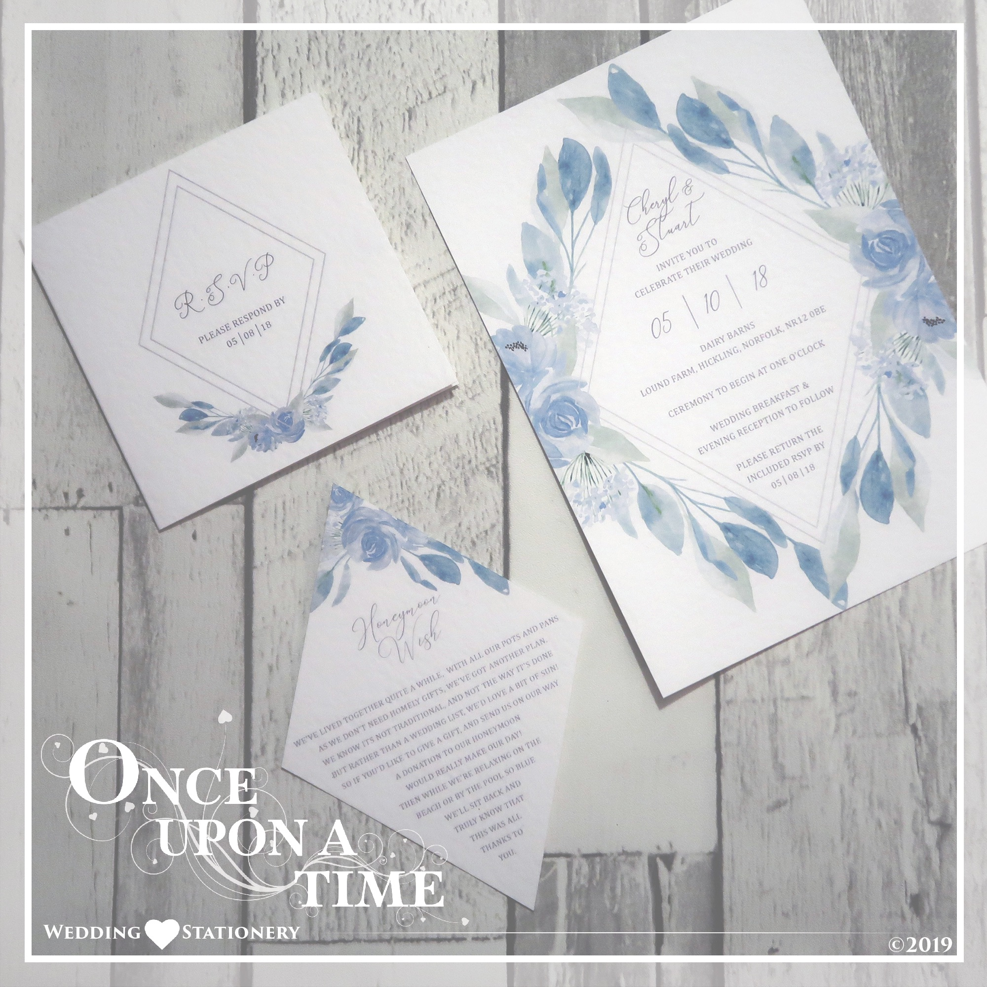Flat Wedding Stationery Invitation  Set with RSVP Card & Gift Request Poem