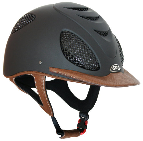 GPA Speed' Air 2X Leather Riding Helmet - Black/Chestnut Leather (£415.83 E