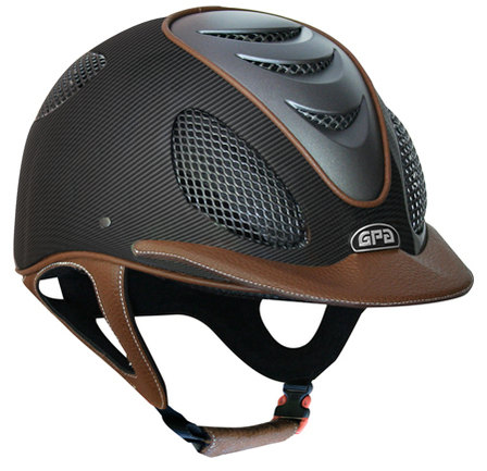 GPA Speed' Air 2X Matt Carbon Prestige Riding Helmet -  Chestnut Leather (£