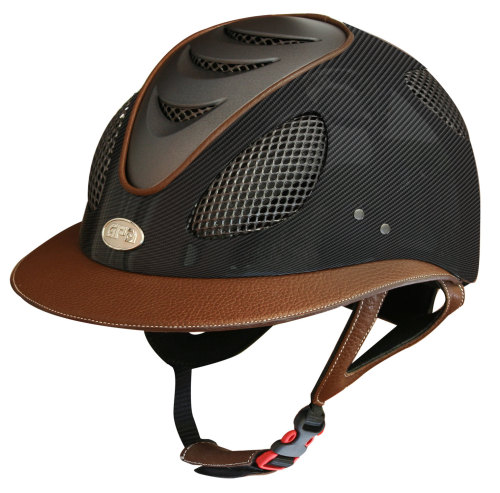 GPA First Lady Leather Carbon 2X Riding Helmet - Matt or Shiny Carbon Chest