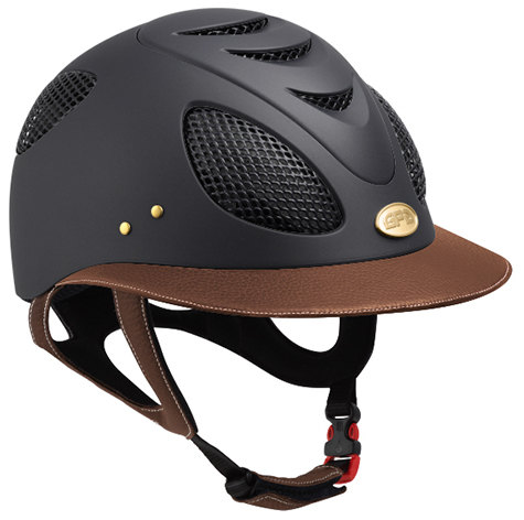 GPA First Lady 2X Leather Riding Helmet - Black/Chestnut Leather (£437.50 E