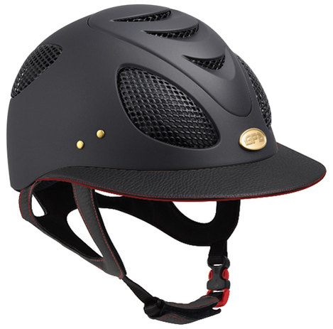 GPA First Lady Leather Red Side Riding Helmet - Black/Red Leather (£479.17