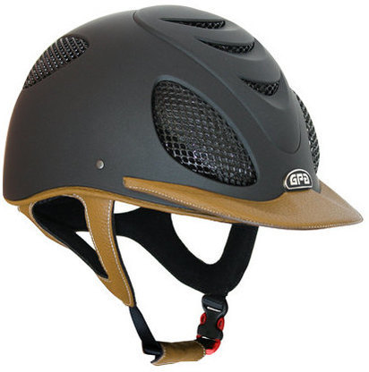 GPA Speed' Air 2X Leather Riding Helmet - Black/Gold Leather (£415.83 Exc V