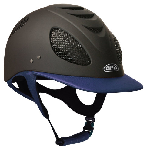 GPA New Generation EVO+ 2X Leather Riding Helmet - Navy Leather (£415.83 Ex