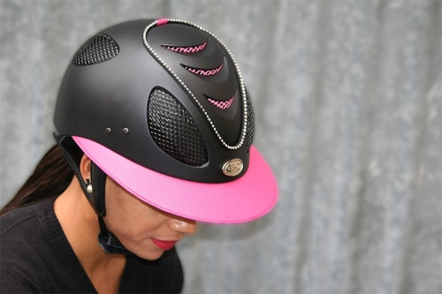 Gpa First Lady 2x Leather Riding Helmet Black Shell Pink Leather