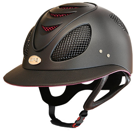 GPA First Lady 2X Leather Riding Helmet - Black/Pink Dahlia (£487.50 Exc VA