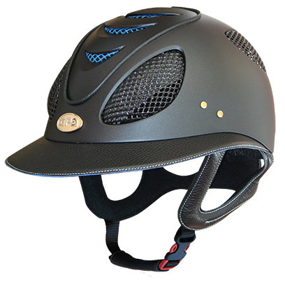 GPA First Lady 2X Leather Riding Helmet - Black/Blue (£487.50 Exc VAT & £58
