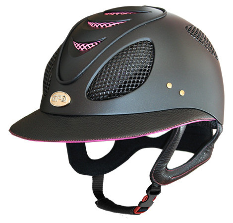 GPA First Lady 2X Leather Riding Helmet - Black/Baby Pink (£487.50 Exc VAT