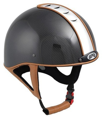 GPA Jock Up 1 Riding Helmet - Carbon - Silver Vent, Five Leather Colour Options (£679.17 Exc VAT & £815.00 Inc VAT)
