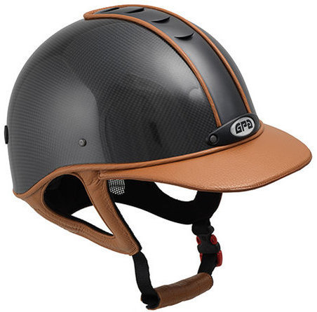 GPA Highlite Prestige Carbon Riding Helmet -  Shiny Carbon Shell/Tan Gold L