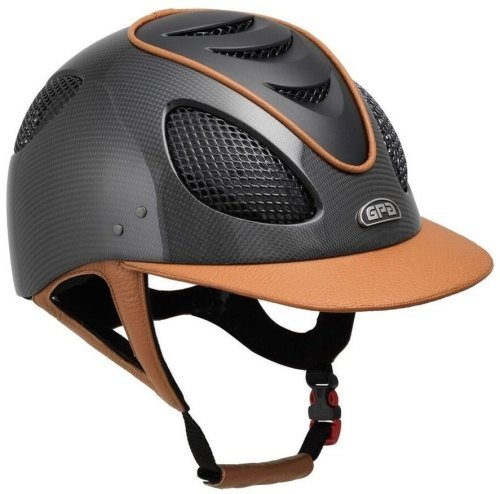 GPA New Generation EVO+ 2X Carbon Leather Riding Helmet - Tan Leather Black