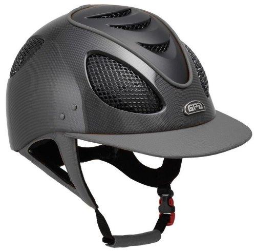GPA New Generation EVO+ 2X Shiny Carbon Leather Riding Helmet - Grey Leathe
