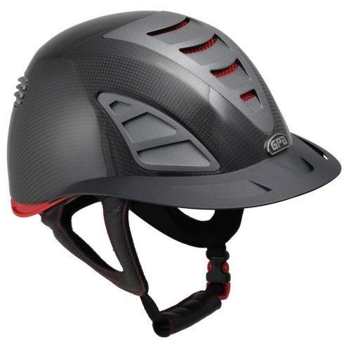 GPA First Lady Carbon 4S REDLINE Collection Riding Helmet - Shiny Carbon/Re