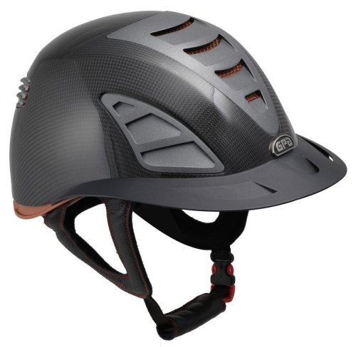GPA First Lady Carbon 4S REDLINE Collection Riding Helmet - Shiny Carbon/Br