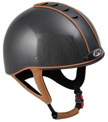 GPA Jock Up 1 Riding Helmet - Carbon - Black Vent, Five Leather Colour Opti
