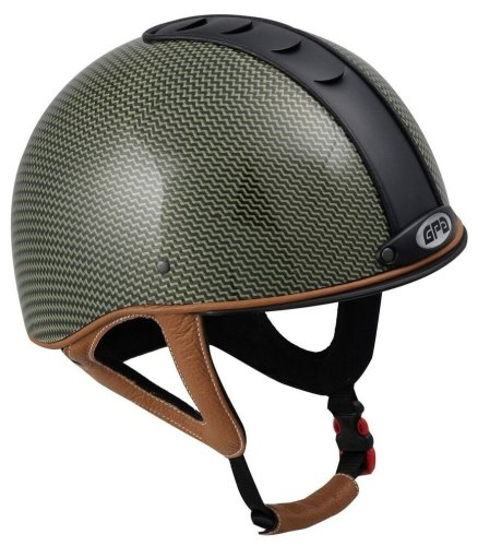 GPA Jock Up 1 Kevlar Riding Helmet - Carbon/Kevlar - Black Vent, Five Leath