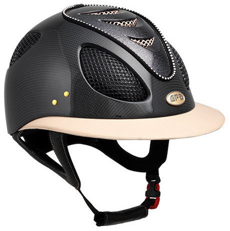 "GPA First Lady ""Ophélie"" Leather Carbon 2X Riding Helmet - Shiny Carbon Pow"
