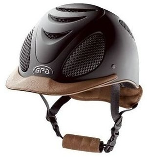 GPA Speed' Air Matt Carbon Prestige Riding Helmet -  Gold Leather